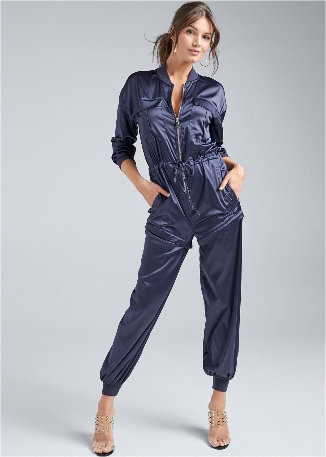 Satin Utility Jumpsuit,Embellished Lucite Heel