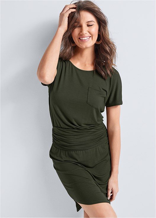 RUCHED DETAIL CASUAL DRESS,RAFFIA HOOP EARRINGS