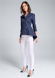 Full front view Ruffle Hem High Low Jacket