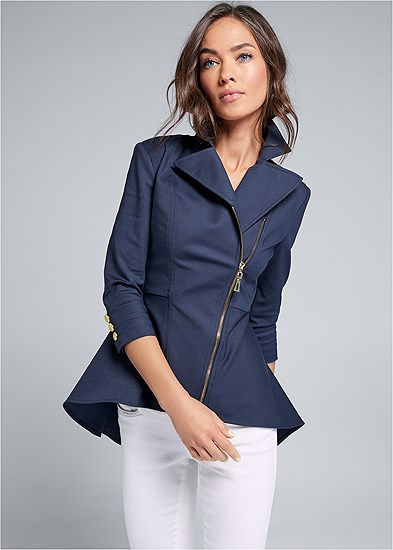Ruffle Hem High Low Jacket