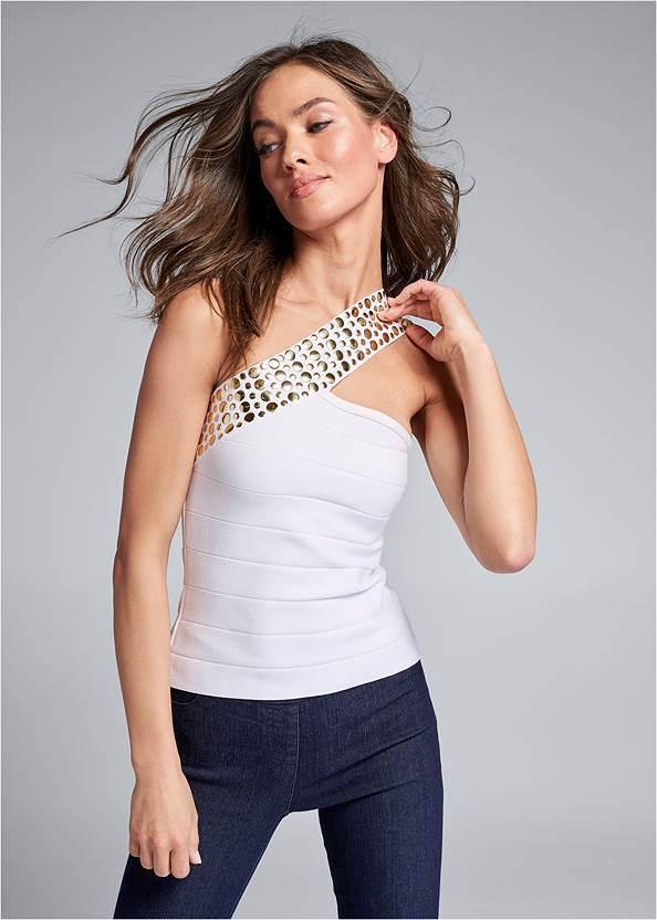 Embellished Bandage Sweater,Mid Rise Slimming Stretch Jeggings