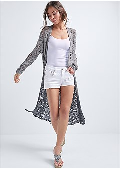 open knit ombre duster