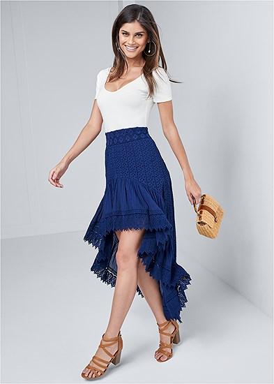 High Low Eyelet Skirt