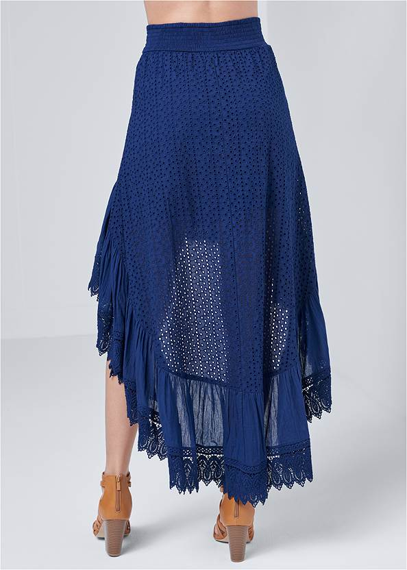 Back View High Low Eyelet Skirt