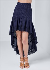 Front View High Low Eyelet Skirt