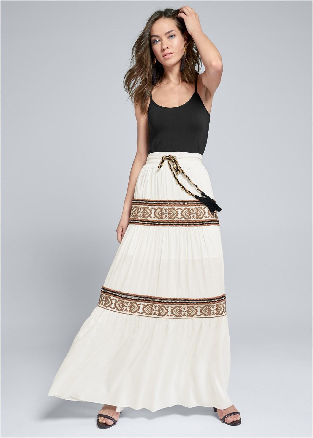Gold Embellished Maxi Skirt,Basic Cami Two Pack,Block Heels