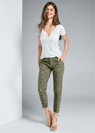 Front View Lace Up Linen Pants