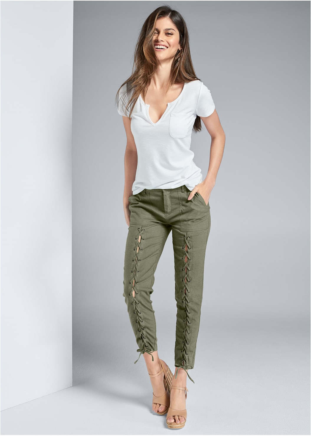 Lace Up Linen Pants,Casual Pocket Tee,Push Up Bra Buy 2 For $40,Studded Animal Print Sandal,Studded Belt Bag