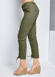Waist down side view Lace Up Linen Pants