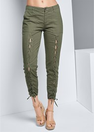 Waist down front view Lace Up Linen Pants
