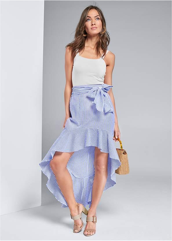 Stripe Seersucker Skirt,Multi Print Demi Bra