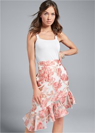 Cropped Front View Floral Skirt