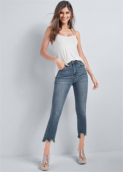 Cropped Distressed Hem Jean