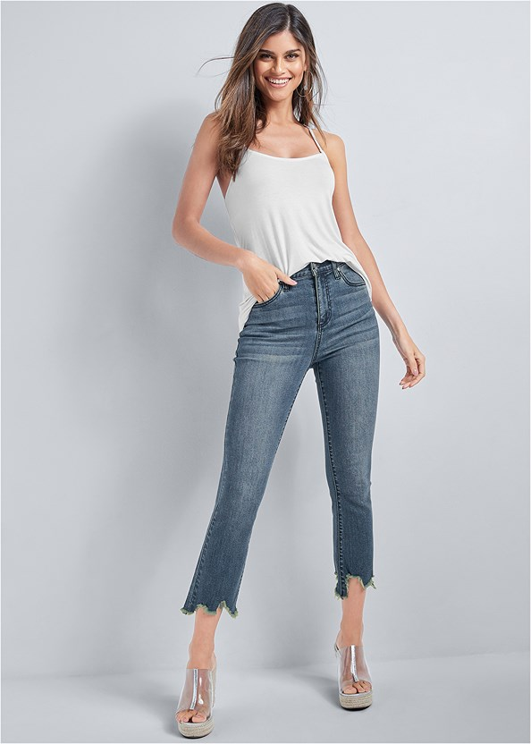 Cropped Distressed Hem Jean,Back Detail Top,Everyday You Strapless Bra,Lace Thong 3 For $19,Lucite Raffia Wedge,Chandelier Earrings