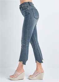 Waist down side view Cropped Distressed Hem Jean
