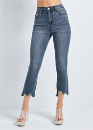 Waist down front view Cropped Distressed Hem Jean