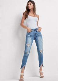 Front View Triangle Hem Jeans
