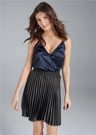 Front View Pleated Mini Skirt