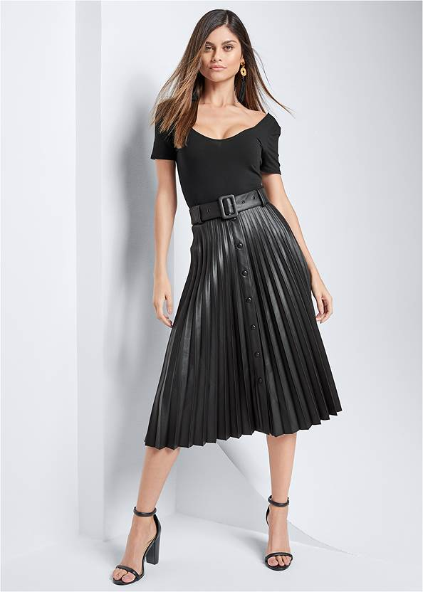 Pleather Pleated Skirt,Cold Shoulder Strappy Top,Peep Toe Mules,Long Chain Pendant Necklace,Stud Detail Crossbody
