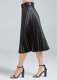 Waist down side view Pleather Pleated Skirt