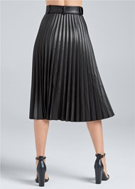 Waist down back view Pleather Pleated Skirt