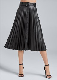 Waist down front view Pleather Pleated Skirt