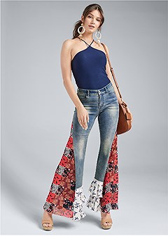 printed flare jean