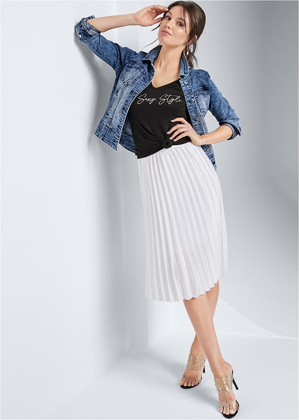 Pleated Midi Skirt,Jean Jacket,Embellished Lucite Heel