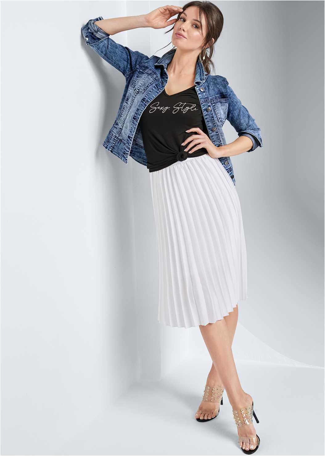 Pleated Midi Skirt,Jean Jacket