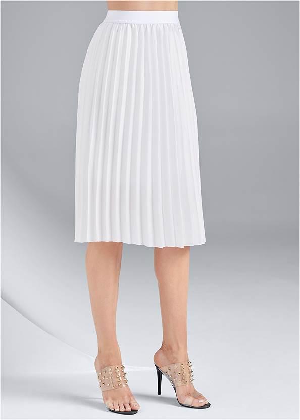Waist down side view Pleated Midi Skirt