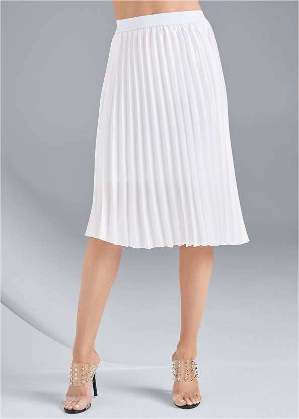 Waist down front view Pleated Midi Skirt