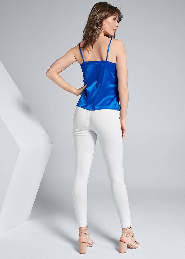 Full back view Ruched Satin Top
