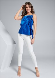 Full front view Ruched Satin Top
