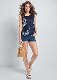 Front View Open Back Floral Top