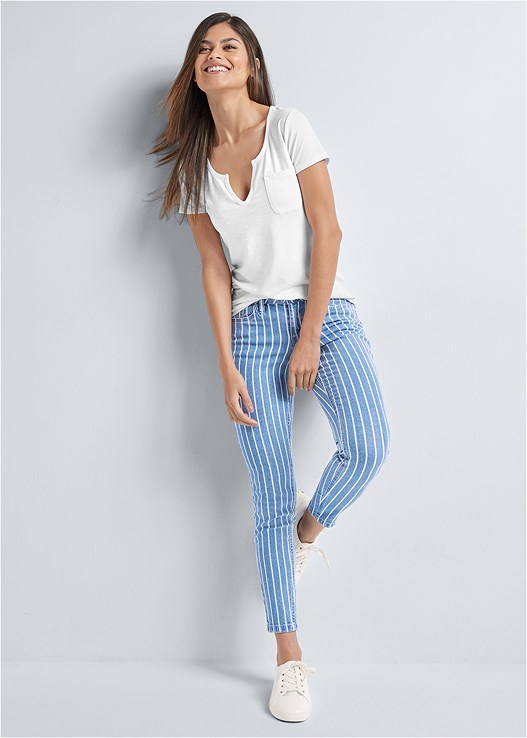 PINSTRIPE SKINNY JEANS,CASUAL POCKET TEE,PUSH UP BRA BUY 2 FOR $40