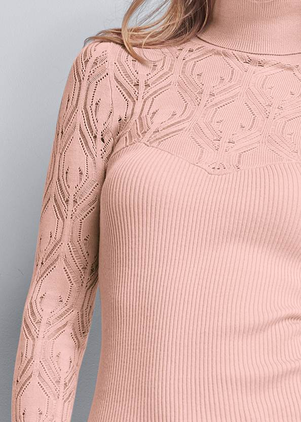Detail front view Pointelle Turtleneck Sweater