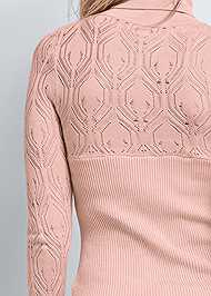 Detail back view Pointelle Turtleneck Sweater