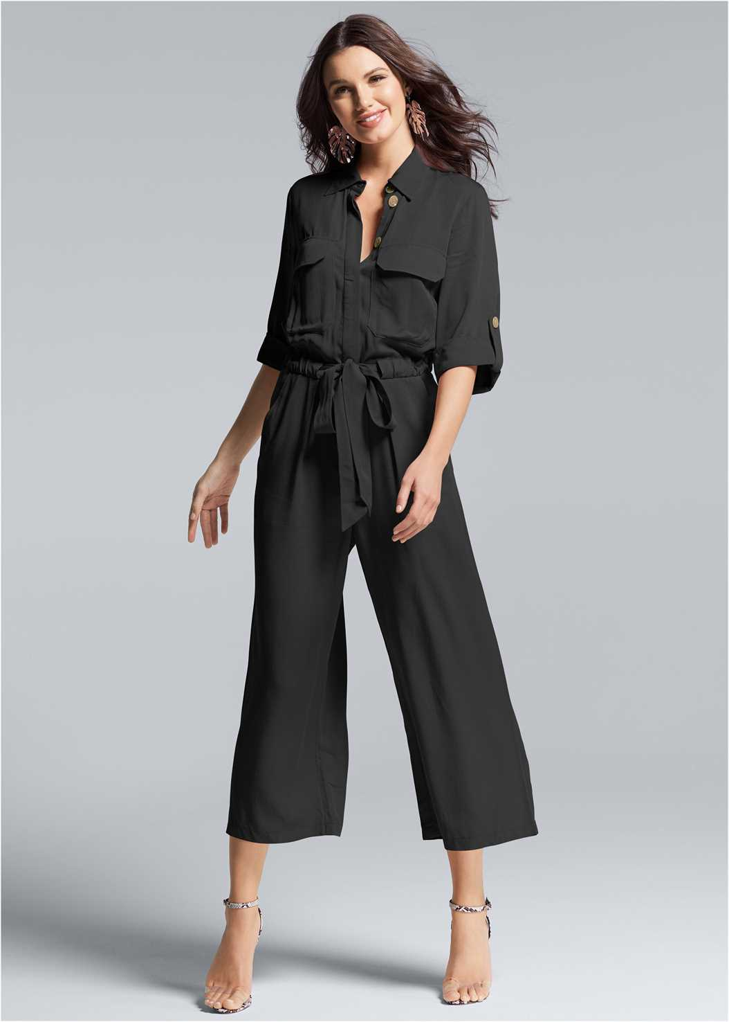 Utility Jumpsuit,Strappy Bra And Thong Set,Lucite Detail Print Heels