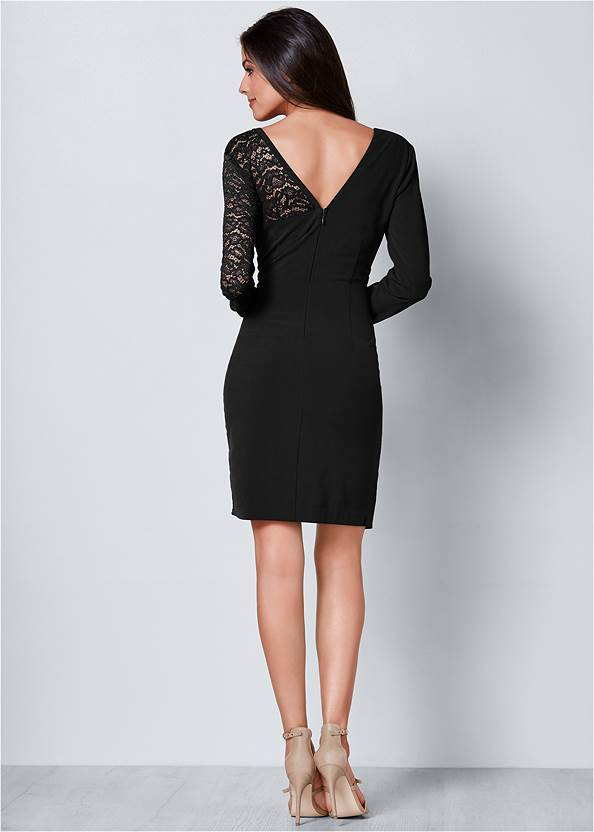 Back View Lace Surplice Detail Dress