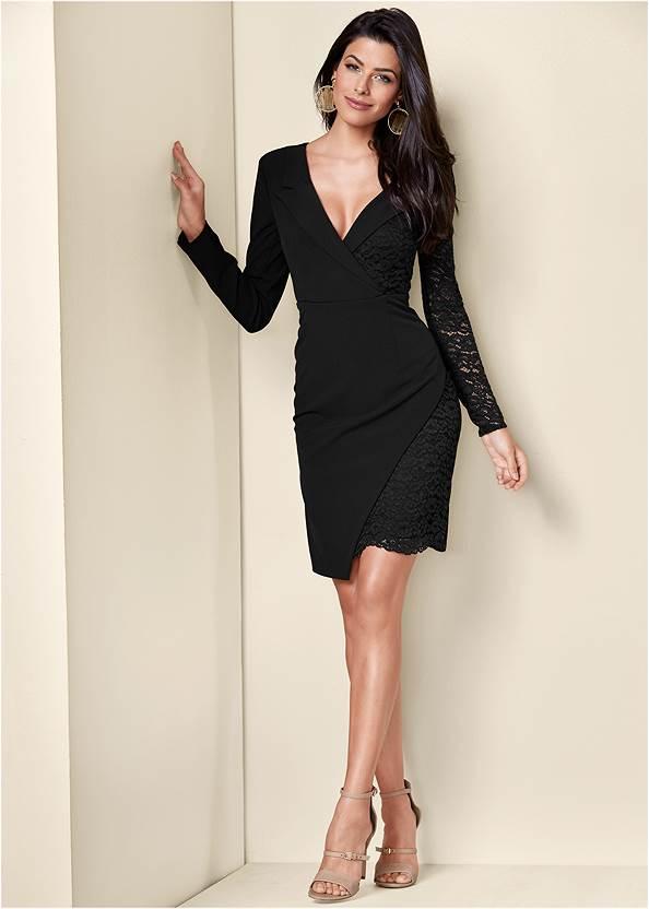 Front View Lace Surplice Detail Dress