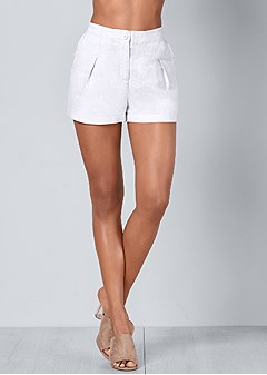 plus size linen shorts
