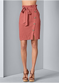 knee length linen skirt