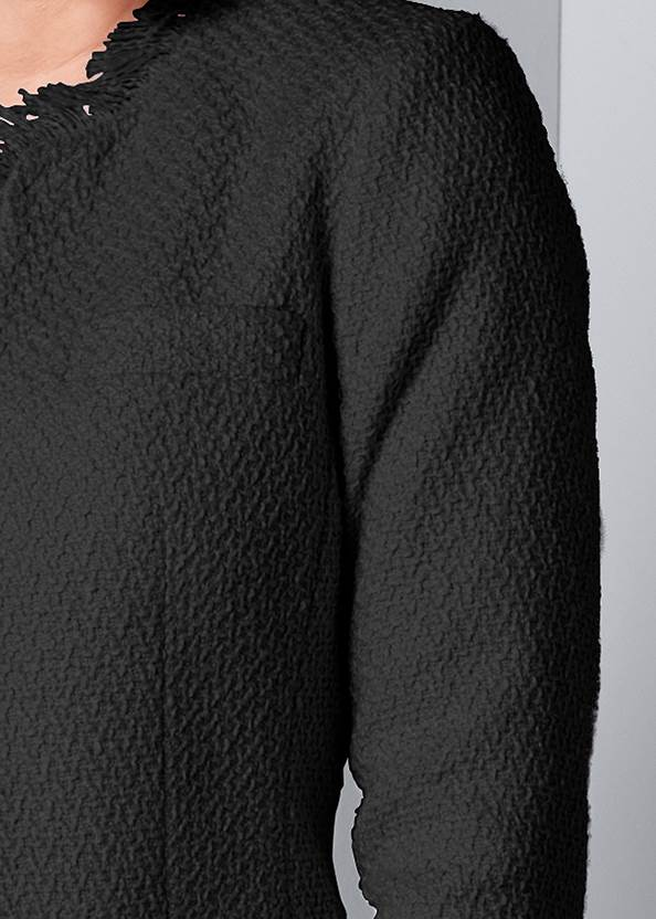 Alternate View Open Front Tweed Fringe Jacket