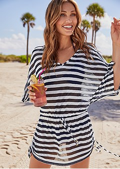 striped drawstring tunic
