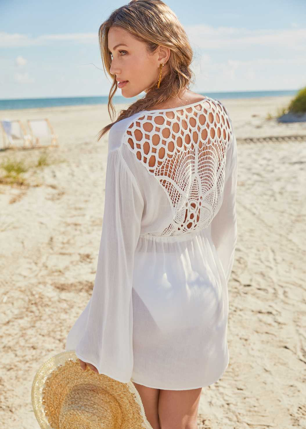 Crochet Detail Cover-Up,Triangle String Bikini Top,Scoop Front Classic Bikini Bottom ,Low Rise Classic Bikini Bottom ,Studded Flip Flops
