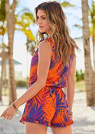 Back View Lace Up Romper Cover-Up