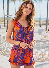 Front View Lace Up Romper Cover-Up