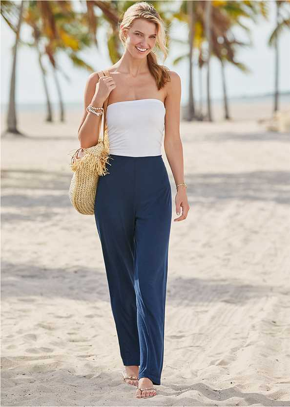 Tie Back Jumpsuit Cover-Up,Marilyn Underwire Push Up Halter Top,Scoop Front Classic Bikini Bottom ,Low Rise Classic Bikini Bottom ,Studded Flip Flops