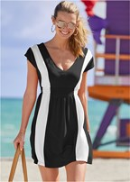 color block v-neck cover-up