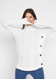 Cropped front view Button Detail Sweater